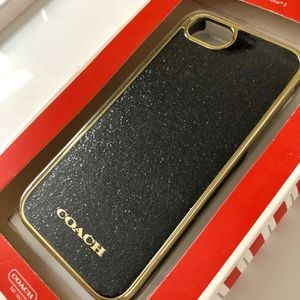 NEW Coach Glitter iPhone 5 Case Black and Gold
